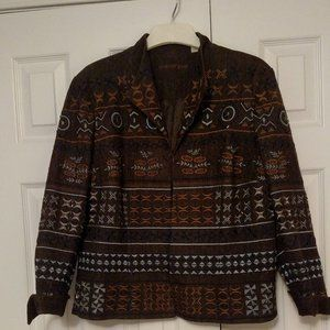 Coldwater Creek Brown Embroidered Jacket - Size 16